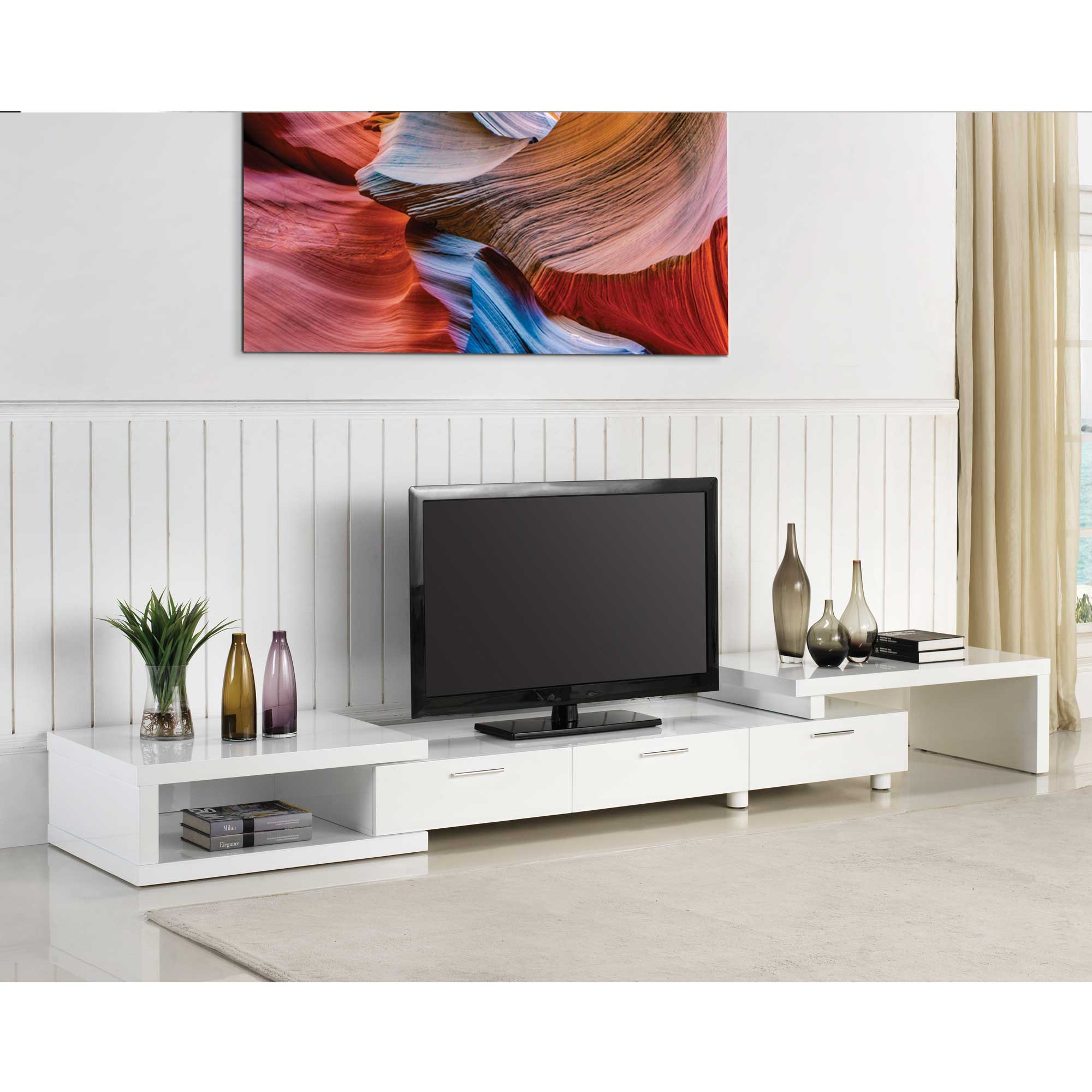 Expandable White TV Stand - HOME DECO