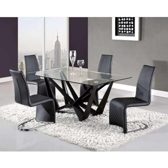 5 PCS Black Dining Set
